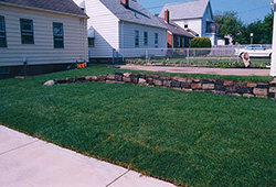 Lawn Sod Installation: With Retainer Wall