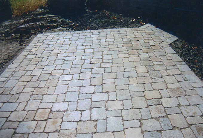 Patio and Walkways: Tumbled Paver Courtyard
