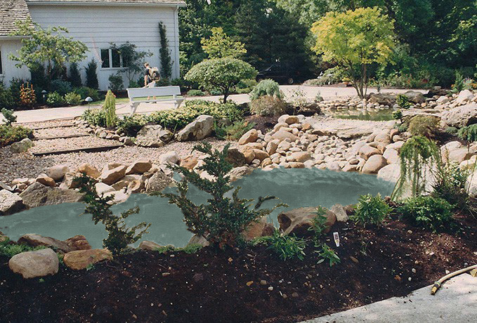 Water Features, Walls & Fountains:  Feature/Driveway & Plants